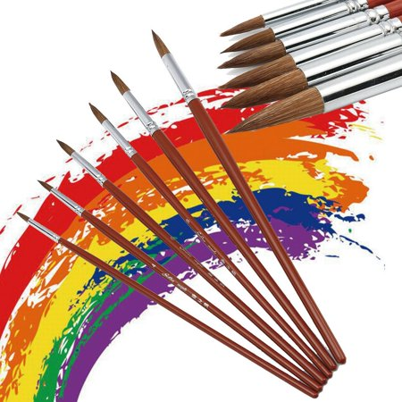 Set of 6 Kolinsky Sable Hair Round Watercolor Paints Brush Set Craft Painting