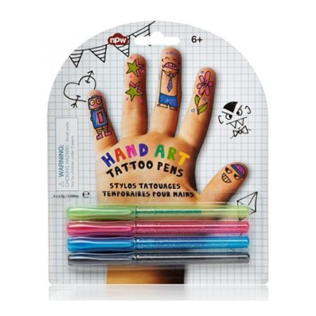 NPW Hand Art Tattoo Pens. Be Your Own Tattoo Artist and Decorate Your Hand & Body with Vibrant Colors. [Green, Pink, Blue and Black] - Glow In Dark Tattoo