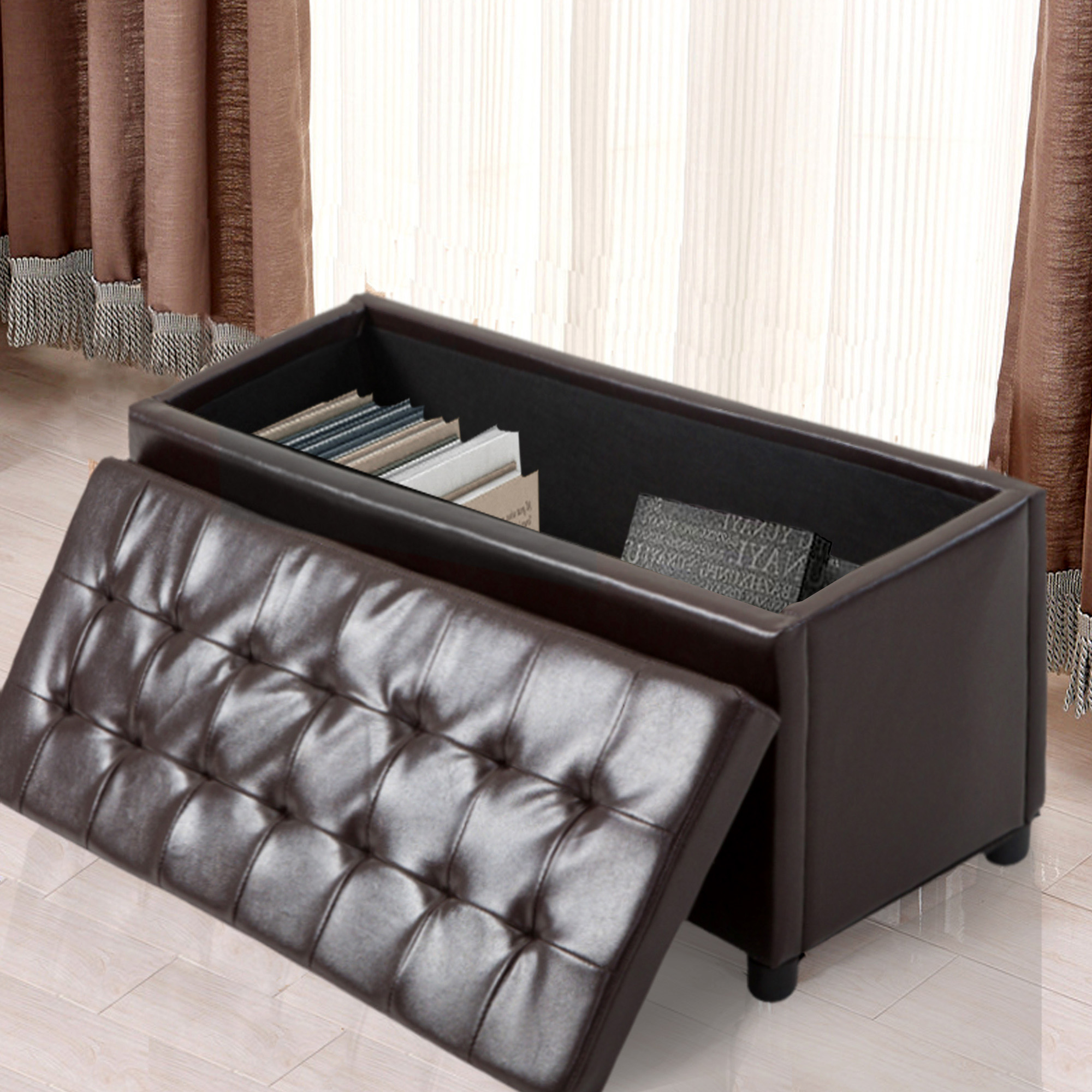 Cloud Mountain Storage Ottoman Faux Leather Sofa Bench Foot Rest Stool Seat  Chest Toy Box Living