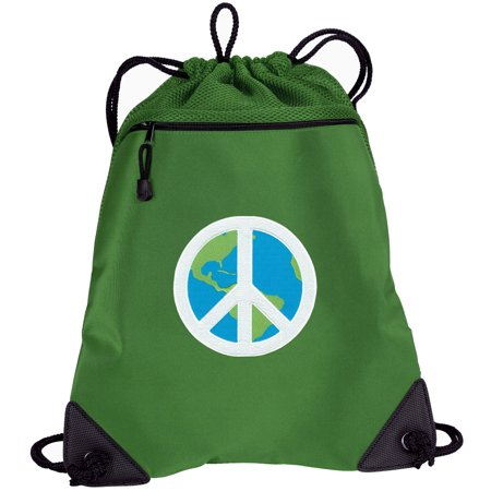 World Peace Drawstring Bag TWO SECTION Peace Sign Cinch Backpack Pack - Unique Mesh & Microfiber Sections