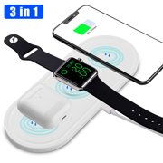 EEEKit Wireless Charger, 3 in 1 Wireless Charging Pad Compatible for Apple Watch and Airpods, Qi Fast Wireless Charging Stand Station Compatible with iPhone 11 Pro/Xs Max/XS/XR/X/8/8 Plus