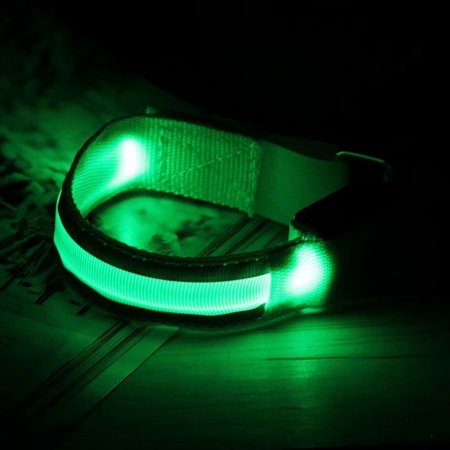 LED Flashing Safety Night Reflective Belt Strap Arm Band for Cycling Running Jogging Walking,green