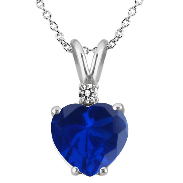 2.37 Ct Blue Simulated Sapphire White Diamond 925 Sterling Silver Pendant