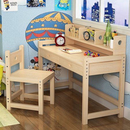 Tribesigns Unfinished Kids Study Desk and Chair Set with Hutch, Height  Adjustable Solid Wood Writing Student Desk for Child, Great for Kid\'s  Bedroom ...