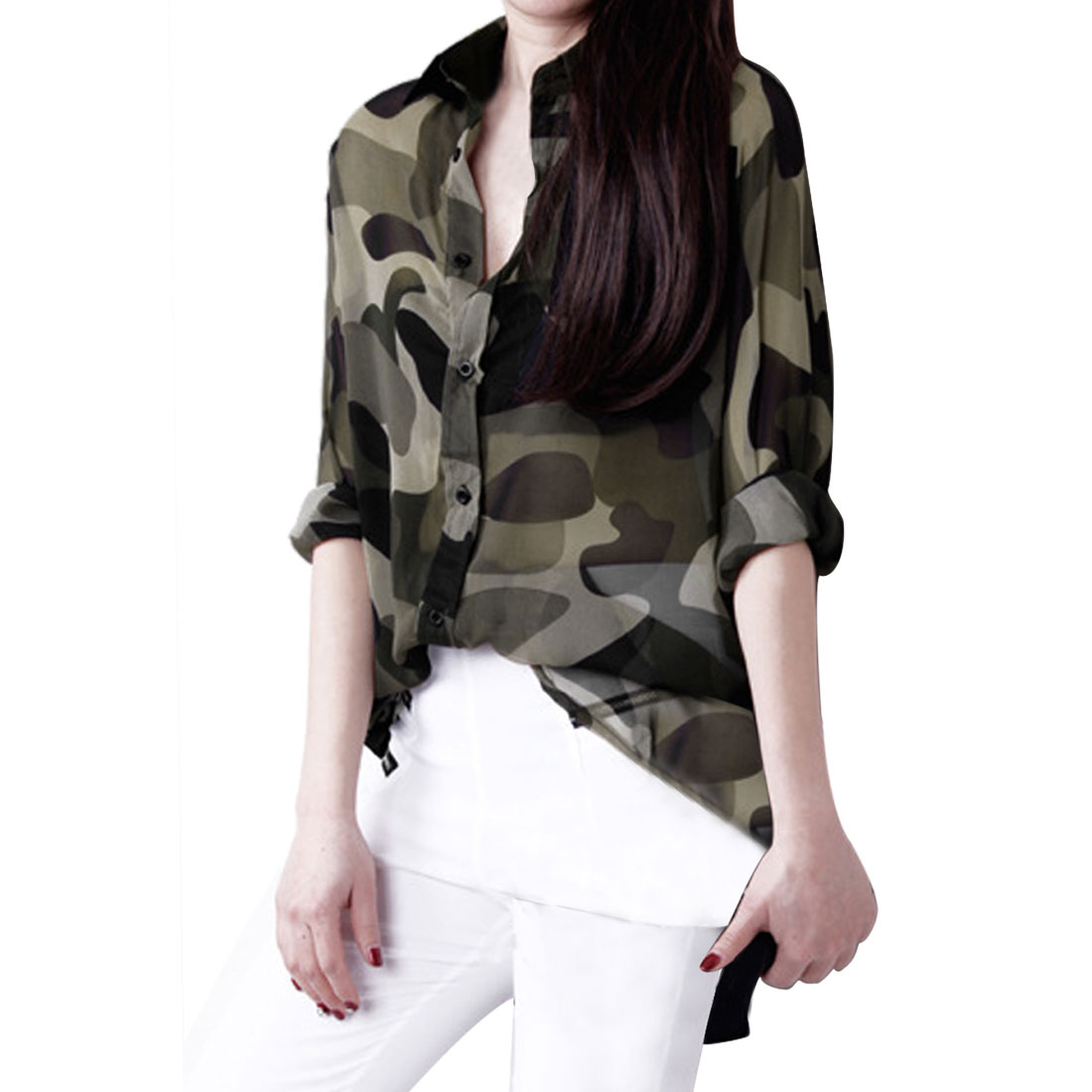 Sheer Camouflage Blouse 68