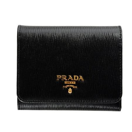f692ff90ca2b Prada - Prada Womens 1MH176 2EZZ Vitello Move Leather Tri-Fold Wallet Nero ( Black) - Walmart.com