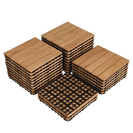 Pack of 27 Wood Flooring Tiles Interlocking Wood Tiles For Patio Garden Deck Poolside ()