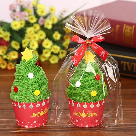 Santa Claus Snowman Christmas Tree Cake Modelling Cotton Towel Creative Gifts