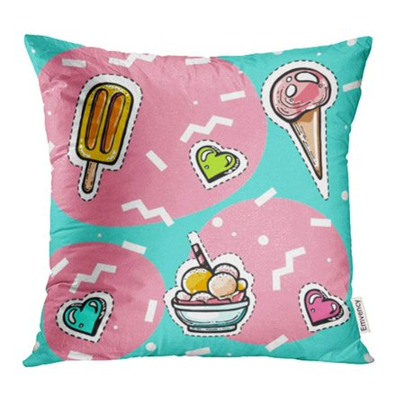 - CMFUN Blue 80S in Youthful Style with Memphis Ice Cream with Hearts on Wavy Design Pink Pillowcase Cushion Cover 16x16 inch