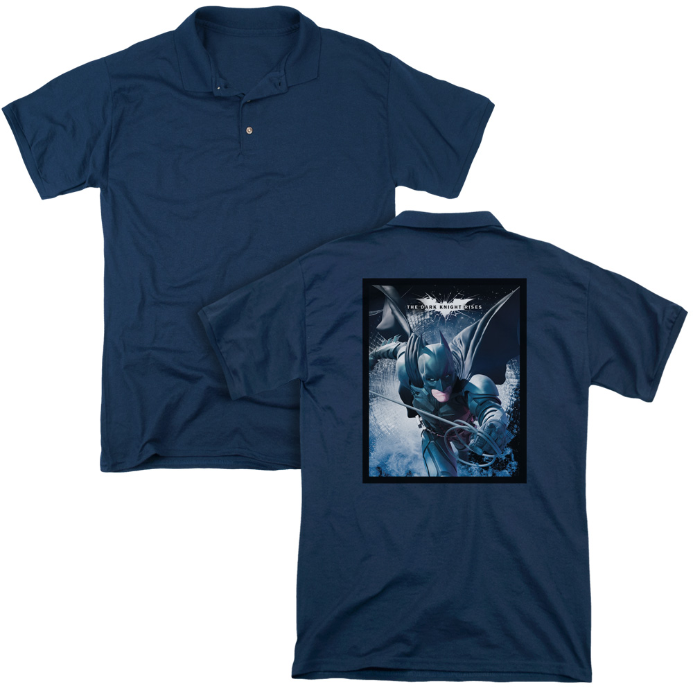 Dark Knight Rises Swing Into Action Cracked Glass Poster Adult Back Print Polo T