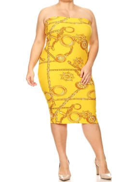 f518752483 Product Image MOA COLLECTION Women s Plus Size Print Strapless Off The  Shoulder Bodycon Midi Tube Dress Made