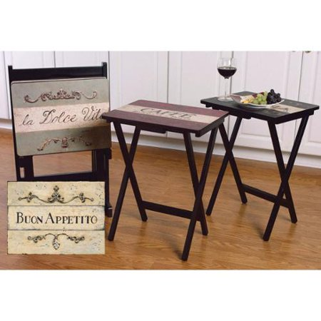 Tv Tray Tables With Stand Set Of 4 Cucina