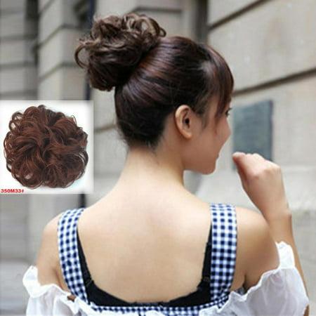 Natural Hair Bun Fake Hair Extensions Curly Hair Bun FREE Eyeglass Pouch by Kaneesha (Style 35OM33)