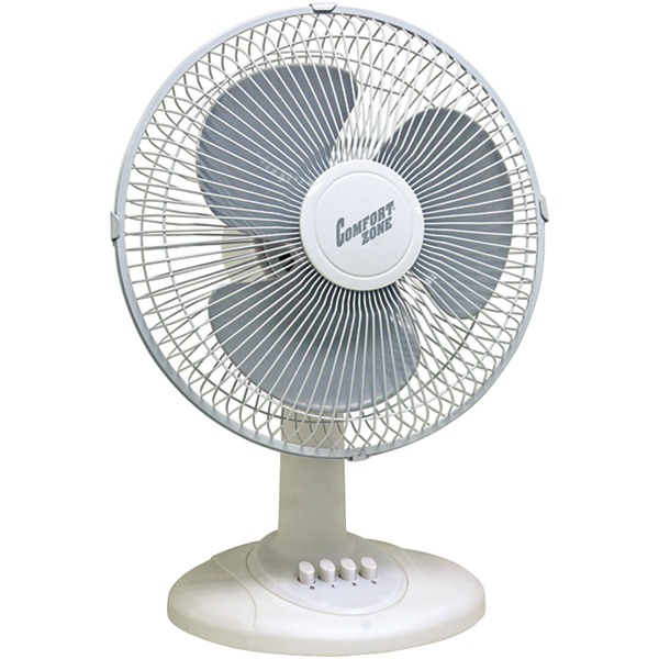 """COMFORT ZONE CZ121BW 12"""" Oscillating Table Fan (White)"""