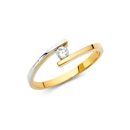 Vintage Style Right Hand Ring (CZ Cocktail Ring Solid 14k White Yellow Gold Band Curve CZ Solitaire Style Right Hand Two Tone)