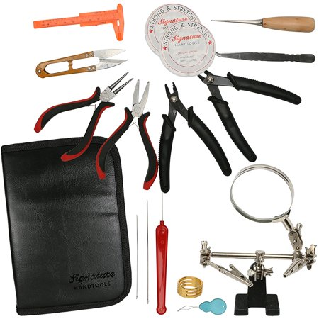Premium Jewelry Making Craft Supply Kit - 16 Piece Tool Set, Includes Deluxe Storage Case ()