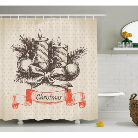Vintage Christmas Shower Curtain Merry Xmas Theme Hand Drawn Candles Spruce Leaves On Polka Dots Fabric Bathroom Set With Hooks 69W X 75L Inches Long