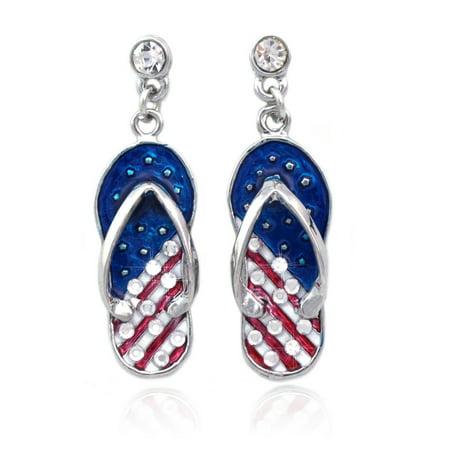 - cocojewelry 4th of July USA American Flag Flip Flop Sandal Post Dangle Earrings