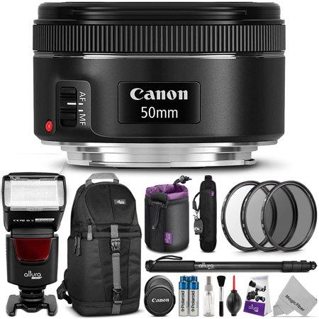 Canon Ef 50Mm F 1 8 Stm Lens W  Complete Bundle   Includes  Altura Photo Ap Unv1 Flash   Dslr Sling Backpack   Monopod   Uv Cpl Nd4   Altura Photo Rapid Firetm Neck Strap   Lens Pouch   Cleaning Set
