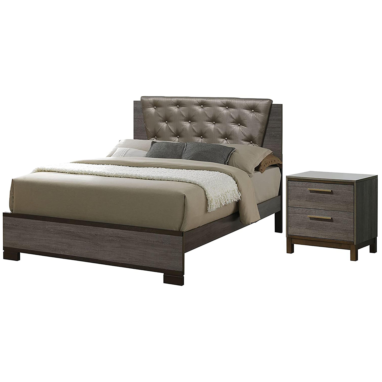 Furniture Of America Adelina Bedroom Set 1 California King Bed 1 Nightstand Two Tone Antique Gray Walmart Com Walmart Com