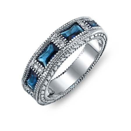 Art Deco Style Milgrain Blue Baguette Eternity Wedding Band Ring Simulated Sapphire Cubic Zirconia Silver Plated Brass - image 5 de 5