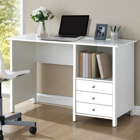 Techni Mobili Contempo Desk with 3 Storage Drawers, White