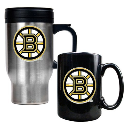 NHL - Boston Bruins Standard Travel Mug and Ceramic Mug Set