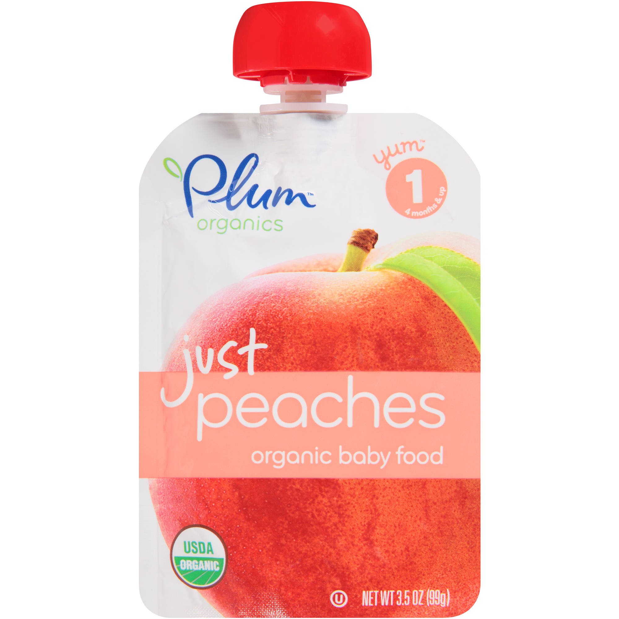 Plum Organics Just Peaches Stage 1 Organic Baby Food, 3.5 oz, (Pack of 12)