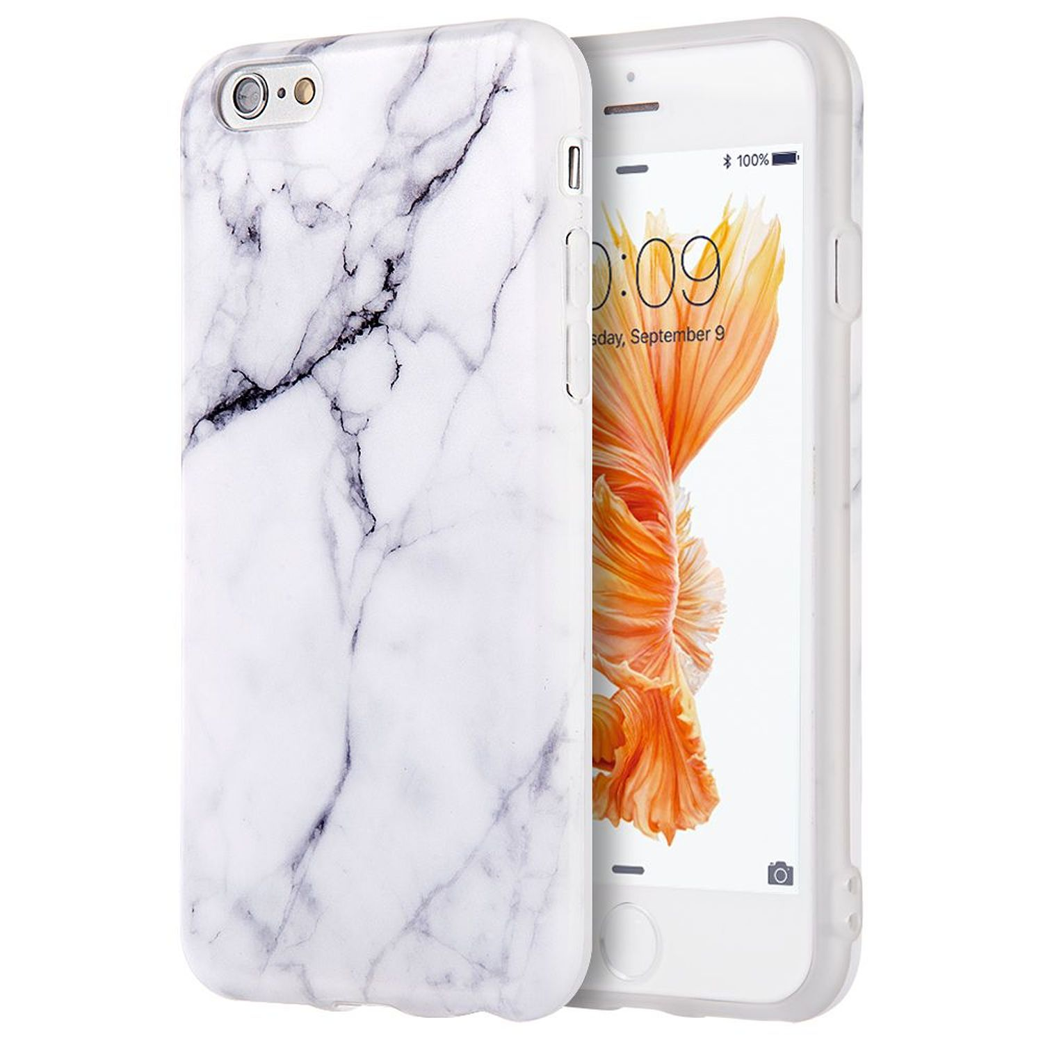 Apple iPhone 6s Plus / 6 Plus Marble Imd Soft TPU Ultra Thin Skin Rubber Gel Case by Insten - White/Black