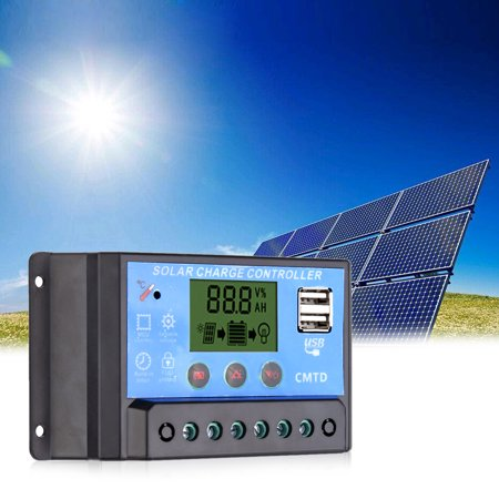 Anself 20A /24V Solar Charge Controller with LCD Display Auto Regulator Timer Solar Panel Battery Lamp LED Lighting Overload Protection