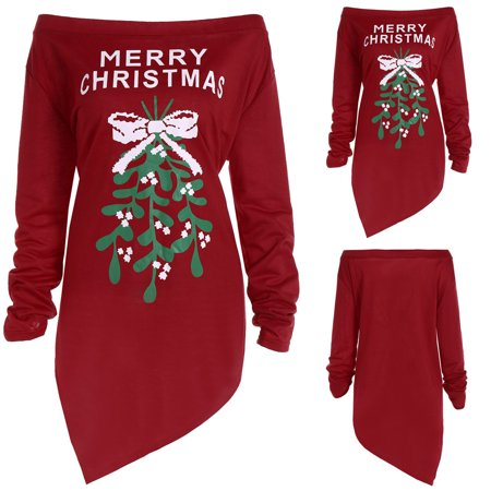 Mosunx Women Xmas Print Letter Dress Ladies Christmas Tree Long Sleeve Party Dresses