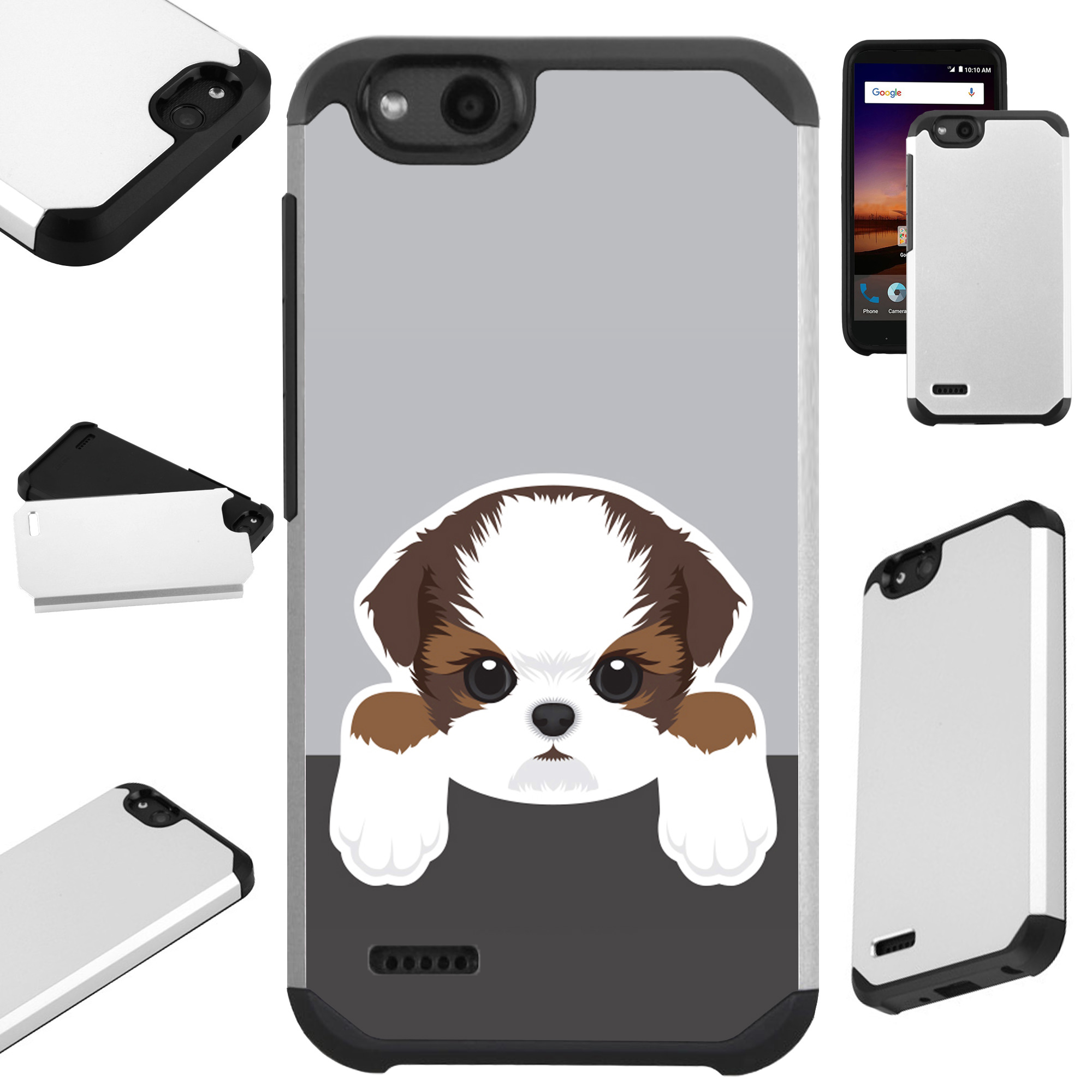 For ZTE ZFive G LTE / ZFive C / Avid 4 / Fanfare 3 / Blade Vantage / Tempo X / Tempo Go Case Hybrid TPU Fusion Phone Cover (Cute Doge Shih Tzu)