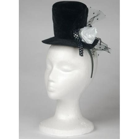 Loftus Mini Top Hat Adult Headband w Rose, Black White, One Size](Tiny Hat Headband)
