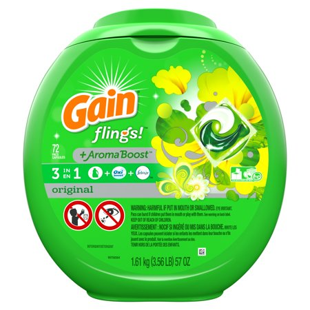 Gain flings! plus Aroma Boost Laundry Detergent Pacs, Original, 72 Count