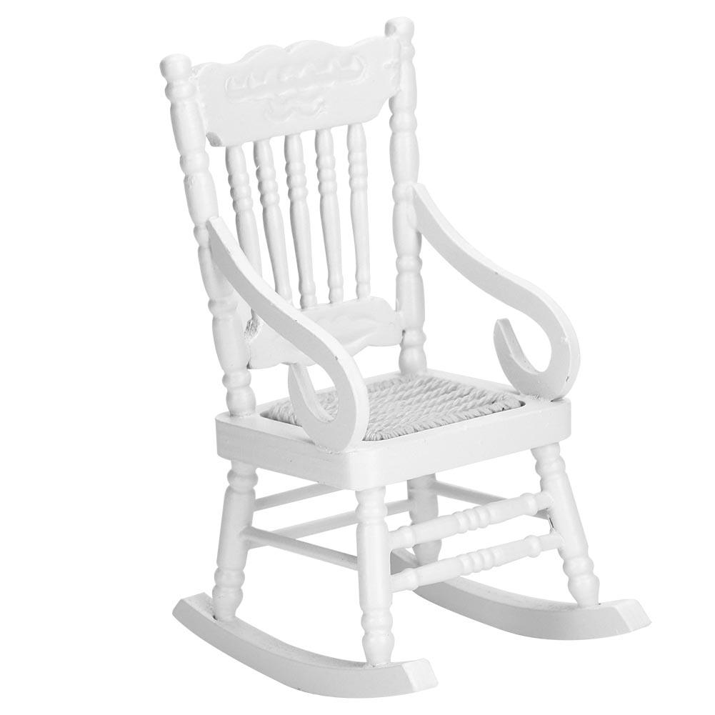 Knitted Rope Seat Doll Houses Toy 1:12 Mini Rocking Chair Dollhouse Furniture