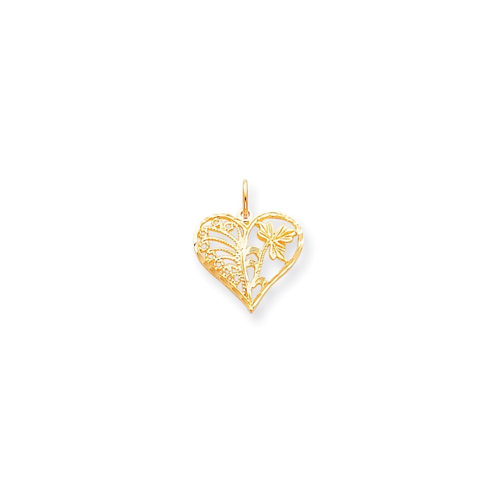 10k Yellow Gold Heart Charm Pendant