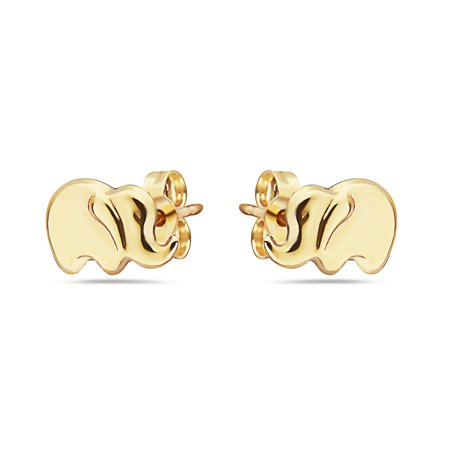 14k Gold Small Elephant Stud Earrings