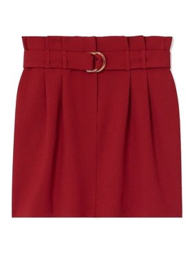 Womens Skirt Burgundy Mini Paperbag Belted 4