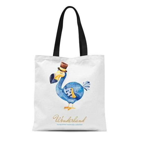 ASHLEIGH Canvas Tote Bag Wonderland Collection Lovely Watercolor Cute Dodo Bird Cylinder Hat Reusable Shoulder Grocery Shopping Bags Handbag