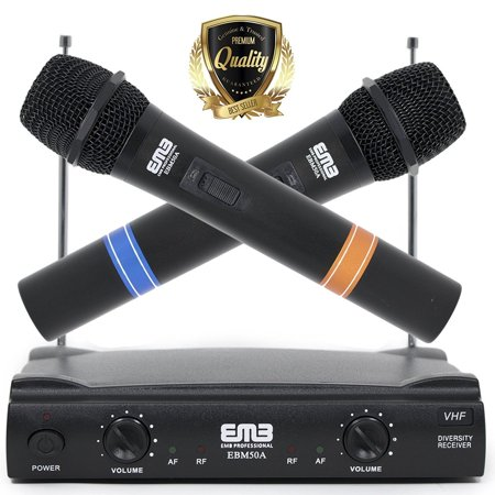 EMB VHF Professional Dual Wireless Handheld HIFI Microphone Long Range – (Best Long Range Wireless Microphone)