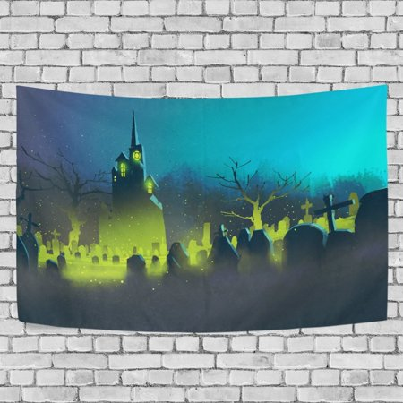 MYPOP Spooky Castle Halloween Cemetery Night Tapestry Wall Hanging Decoration Home Decor Living Room Dorm 60x51 inches - Quilted Halloween Wall Hangings