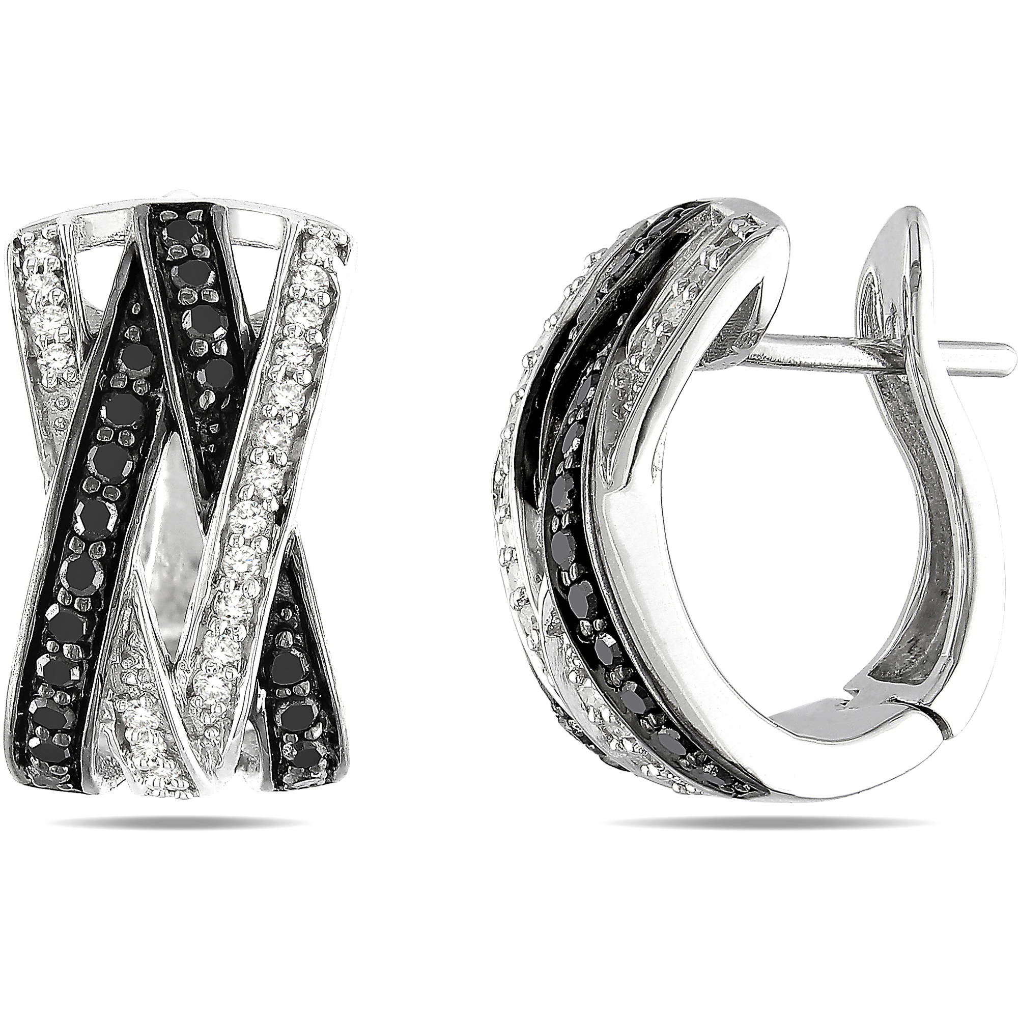 1/2 Carat T.W. Black and White Diamond Sterling Silver Cross-Over Hoop Earrings