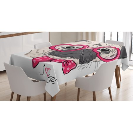Pug Tablecloth, Fashionable Dog with Heart Shaped Glasses and Dotted Bow Tie I Love Pugs Drawing, Rectangular Table Cover for Dining Room Kitchen, 60 X 84 Inches, Pink Grey White, by Ambesonne - Heart Shaped Glasses