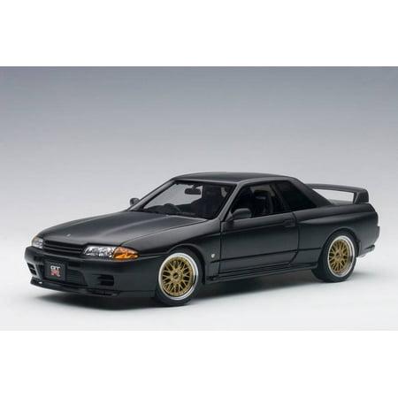 Nissan Skyline GT-R (R32) V-Spec II Tuned Version Matt Black Ltd Edition to 1500pcs 1/18 Diecast Model Car by Autoart