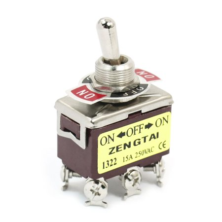 ON-OFF-ON DPDT 6 Screw Terminal Rocker Type Toggle Switch  250V 15A E-TEN1322