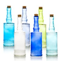 6pc Camila Vintage Glass Bottles Decorative Colorful Wedding Flower Vases