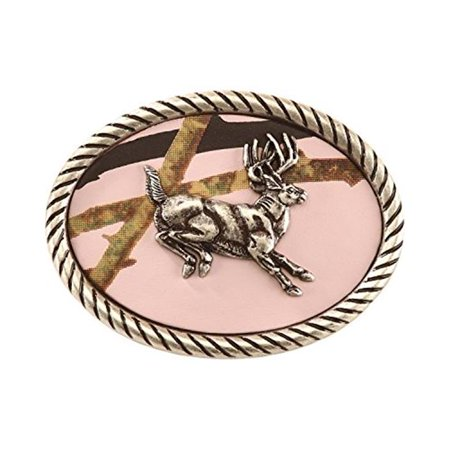 m&f western products 37110 nocona youth men oval jumping buck buckle - pink mossy oak & silver - Jumping Fish Buckle