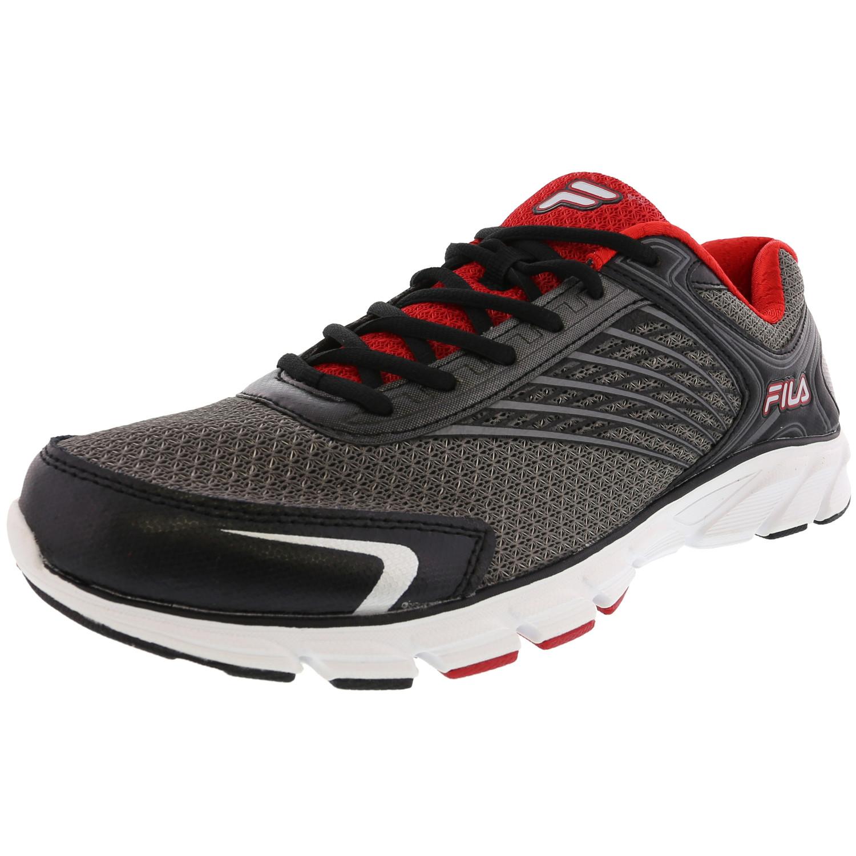 Fila Fila Men's Memory Maranello 2 Dark Silver Black Red Ankle High Fabric Running Shoe 14M