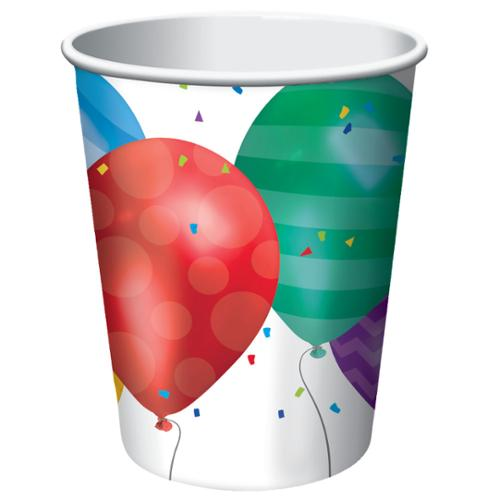 Club Pack of 96 Balloon Blast Patterns Disposable Paper Hot and Cold Drinking Party Cups 9 oz.
