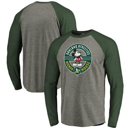 Oakland Athletics Fanatics Branded Disney Mickey's True Original Seal Long Sleeve Tri-Blend Raglan T-Shirt - Heathered (Oakland Seals)